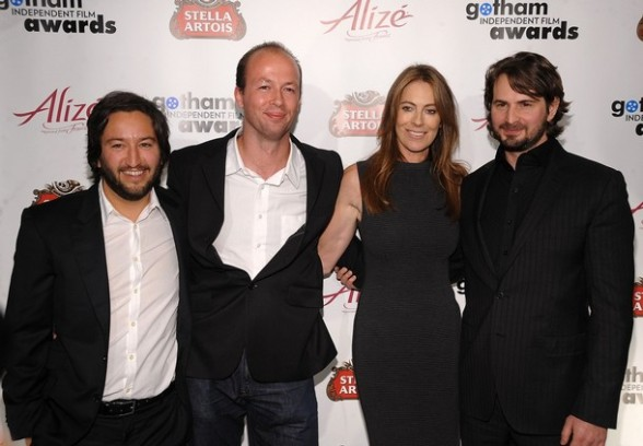 """The Hurt Locker"" producers Greg Shapiro, Nicolas Chartier, Kathryn Bigelow and Mark Boal pose backstage at the 19th Annual Gotham Awards"